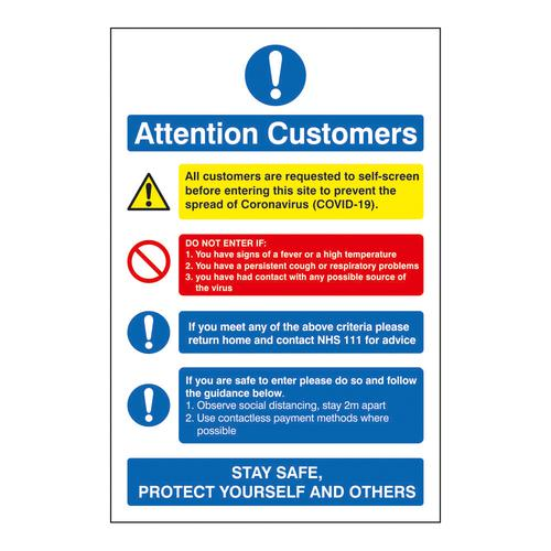 Attention Customers COVID19 Action Notice 200x300mm Self Adhesive Vinyl