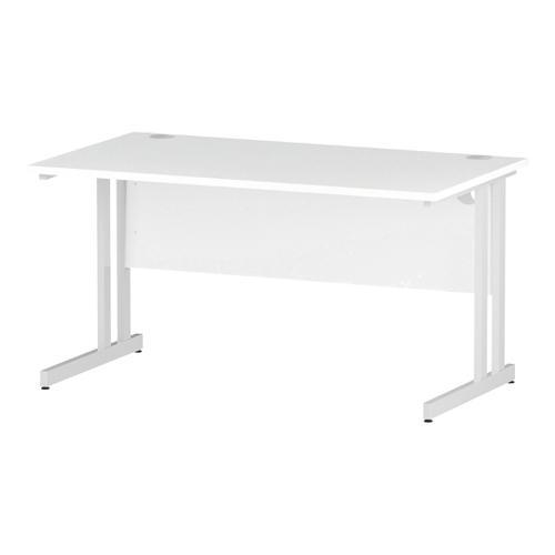 Trexus Rectangular Desk White Cantilever Leg 1400x800mm White Ref I002192