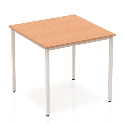 Trexus Square Box Frame Silver Leg Table 800x800mm Oak Ref BF00127