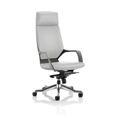 Adroit Xenon Black Shell Head Rest White Leather 520x470x450-535mm Ref KC0217