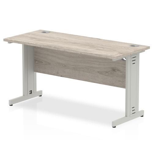 Trexus Slim Rectangular Desk Silver Cable Managed Leg 1400x600mm Grey Oak Ref I003103