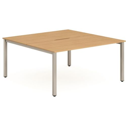 Trexus Bench Desk 2 Person Back to Back Configuration Silver Leg 1400x1600mm Beech Ref BE177