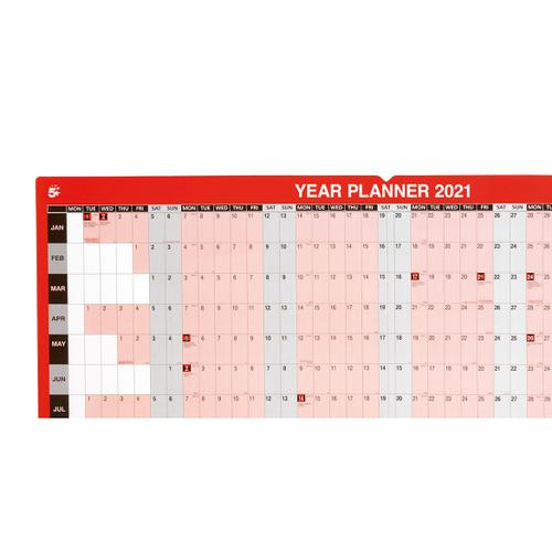 5 Star Office 2021 Year Planner Mounted Landscape with Planner Kit 915x610mm Red
