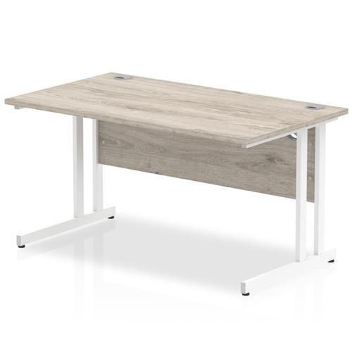 Trexus Rectangular Desk White Cantilever Leg 1400x800mm Grey Oak Ref I003073