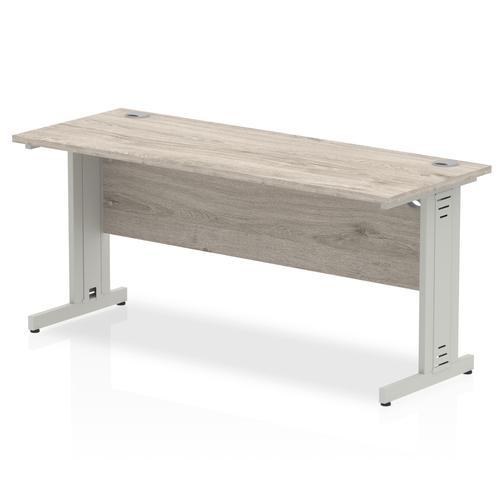 Trexus Slim Rectangular Desk Silver Cable Managed Leg 1600x600mm Grey Oak Ref I003107