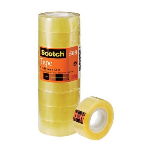 Scotch 508 Clear Tape 19mmx33m Clear Ref 7000033901 [Pack 8]