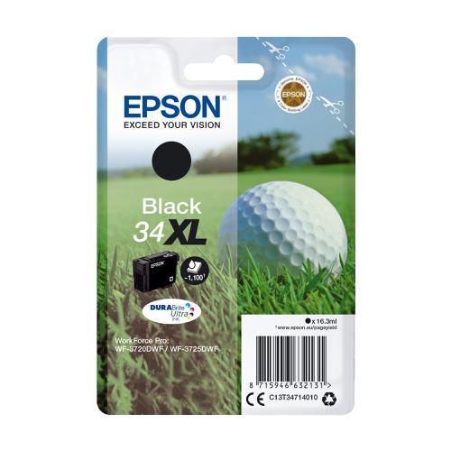 Epson 34XL Inkjet Cartridge High Yield Page Life 1100pp 16.3ml Black Ref C13T34714010