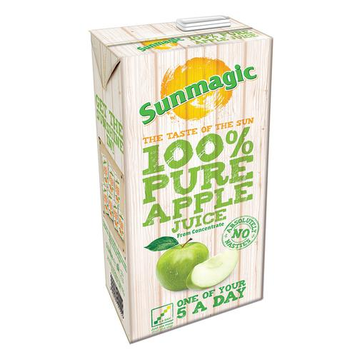 Sunmagic Pure Apple Juice Drink From Concentrate Tetra Pak Slim Carton 1 Litre Ref 471021 [Pack 12]