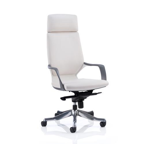 Adroit Xenon White Shell Head Rest White Leather 520x470x450-535mm Ref KC0229