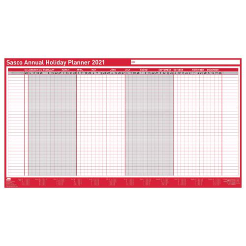 Sasco 2021 Annual Holiday Planner Unmounted Landscape 750x410mm Ref 2410142