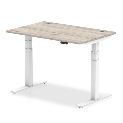 Trexus Sit Stand Desk White Legs 1200x800mm Grey Oak Ref HA01162