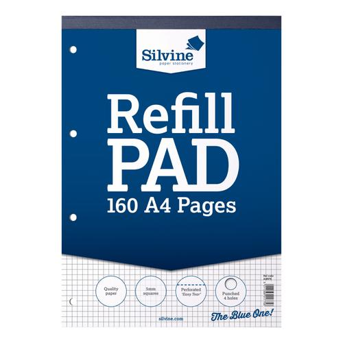Silvine Refill Pad Headbound 75gsm 5mm Squared Perf Punched 4 Holes 160pp A4 Blue Ref A4RPX [Pack 6]