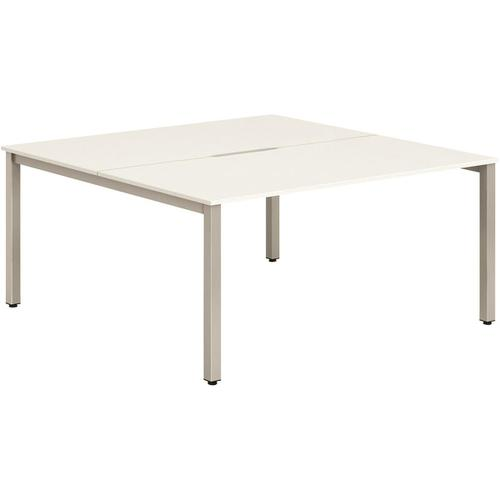 Trexus Bench Desk 2 Person Back to Back Configuration Silver Leg 1400x1600mm White Ref BE175