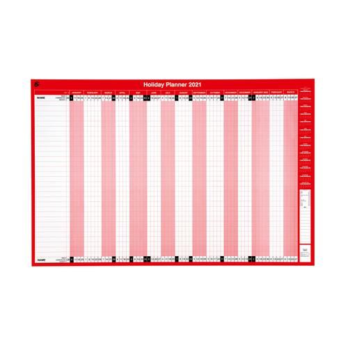 5 Star Office 2021 Holiday Planner Unmounted Landscape with Planner Kit 915x610mm Red