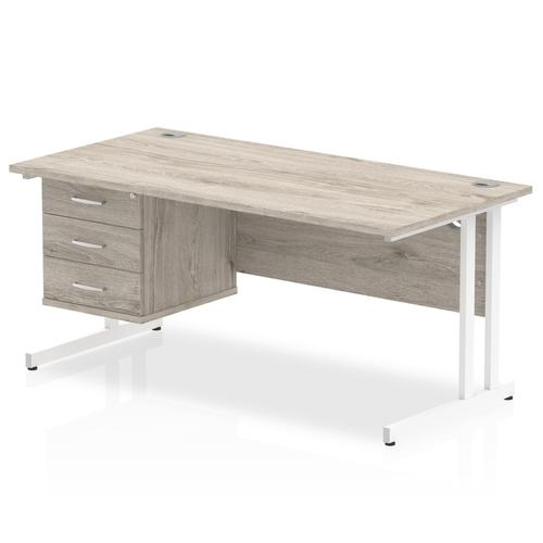 Trexus Rectangular Desk White Cantilever Leg 1600x800mm Fixed Ped 3 Drawers Grey Oak Ref I003497