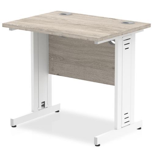 Trexus Slim Rectangular Desk White Cable Managed Leg 800x600mm Grey Oak Ref I003094