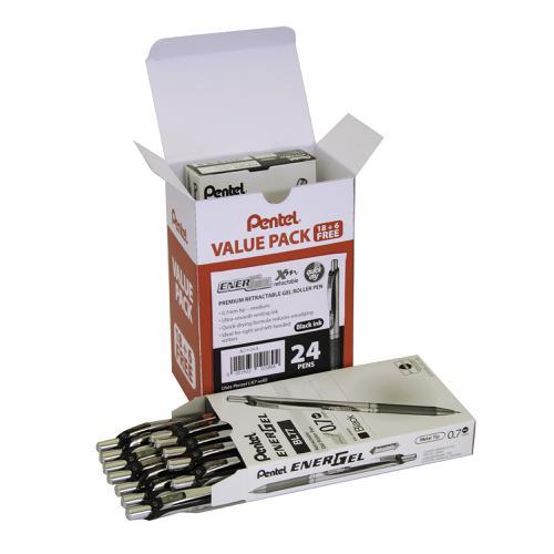Pentel Energel XM Retractable Pen 0.7mm Tip Black Ref BL77/24-A [Pack 24]
