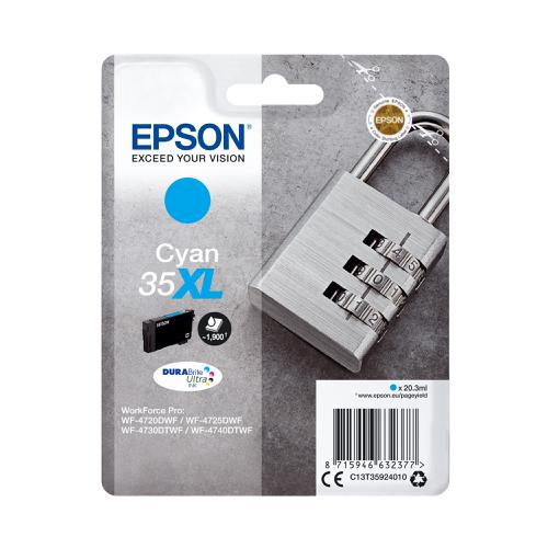 Epson 35XL Inkjet Cartridge High Yield Page Life 1900pp 20.3ml Cyan Ref C13T35924010