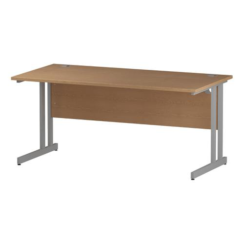 Trexus Rectangular Desk Silver Cantilever Leg 1600x800mm Oak Ref I000808