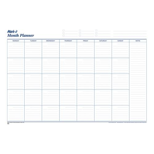 Mark-it Perpetual Month Planner Laminated with Notes Column W900xH600mm Ref MP