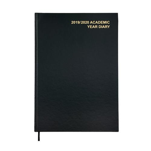 5 Star Office 2019/20 Academic Diary August-August Day-to-Page A4 Black