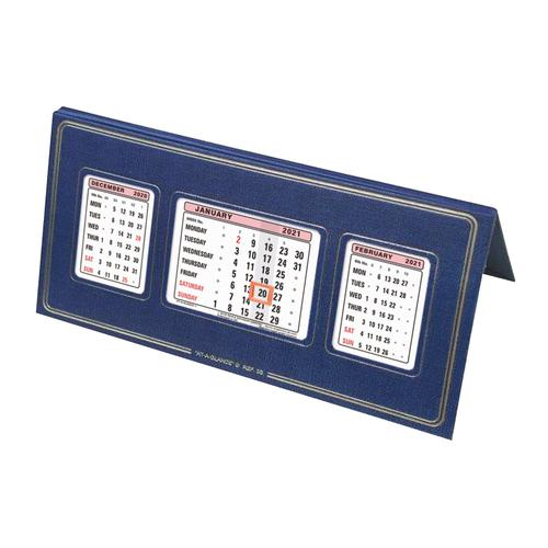 At-A-Glance 2021 Desk Calendar Three Months to View Leatherette Binding 250x130mm Assorted Ref 3S 2021