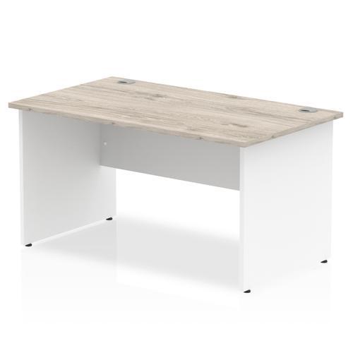 Trexus Rectangular Desk Panel End Leg 1400x800mm Grey Oak/White Ref TT000154