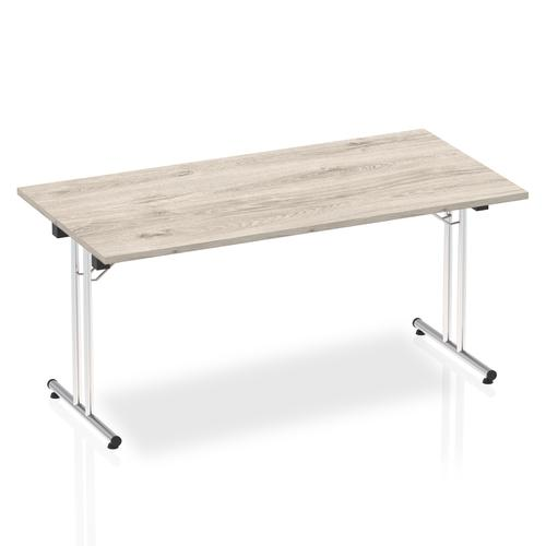 Sonix Rectangular Chrome Leg Folding Meeting Table 1600x800mm Grey Oak Ref