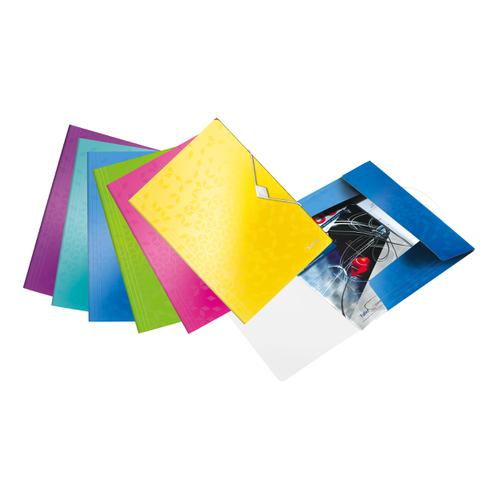 Leitz WOW 3 Flap Folder PP Elastic Straps A4 Assorted Ref 45990099 [Pack 20]