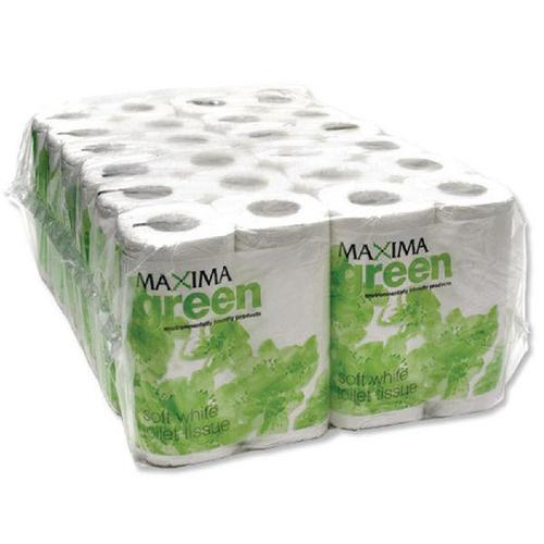 Maxima Green Toilet Rolls 2-Ply 102x92mm Pkd 4 Rolls of 200 Sheets White Ref 1102004 [Pack 48]