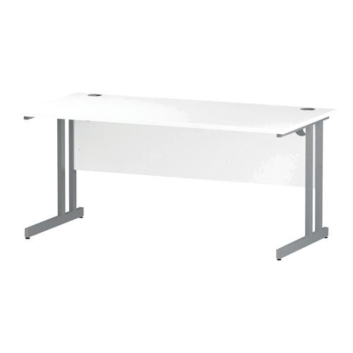 Trexus Rectangular Desk Silver Cantilever Leg 1600x800mm White Ref I000307