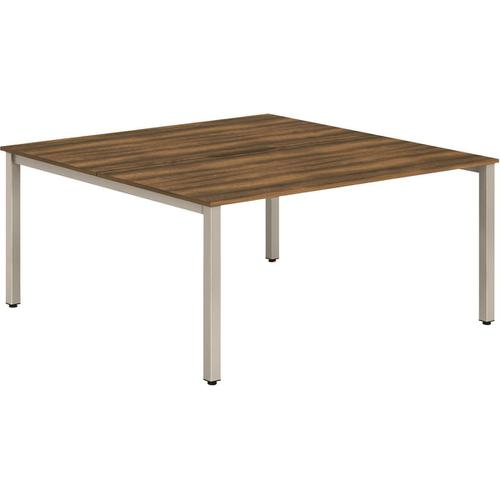 Trexus Bench Desk 2 Person Back to Back Configuration Silver Leg 1400x1600mm Walnut Ref BE174