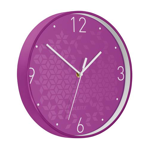 Leitz WOW Wall Clock 290x290x43mm Purple Ref 90150062