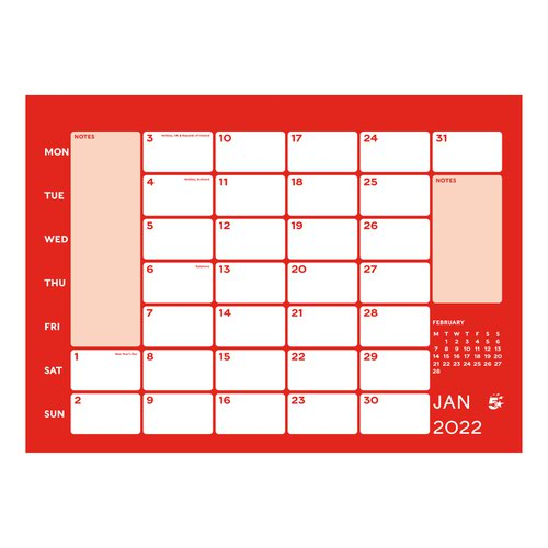 5 Star Office 2022 Wall Calendar Month to View Wirebound 135gsm Paper 249x231mm White/Red
