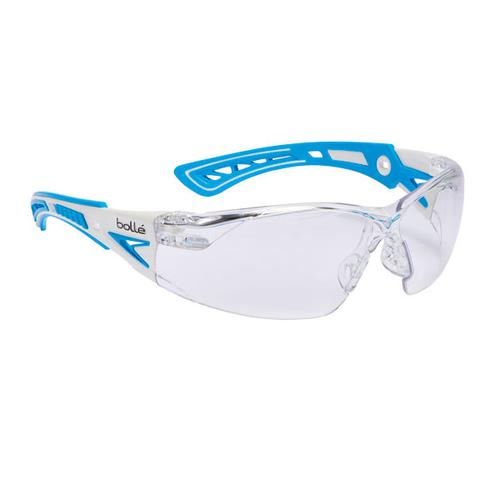 Bolle Rushplus Platinum Safety Glasses Clear/Blue Ref BORUSHPSPSIPLUS [Pack 10] *Up to 3 Day Leadtime*