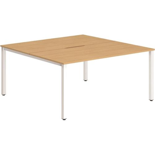 Trexus Bench Desk 2 Person Back to Back Configuration White Leg 1400x1600mm Beech Ref BE157