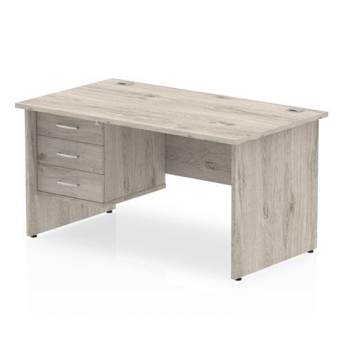 Trexus Rectangular Desk Panel End Leg 1600x800mm Fixed Pedestal 3 Drawers Grey Oak Ref I003477