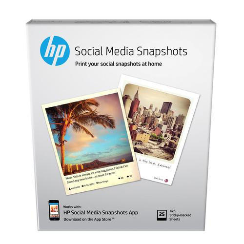 HP Social Media Snapshots Removable Sticky Photo Paper 10x13cm W2G60A [25sheets] *3to5 Day Leadtime*