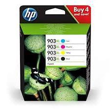 Hewlett Packard 903XL Inkjet Cartridge High Yield Page Life 825pp 50ml B/C/M/Y Ref 3HZ51AE [Pack 4]