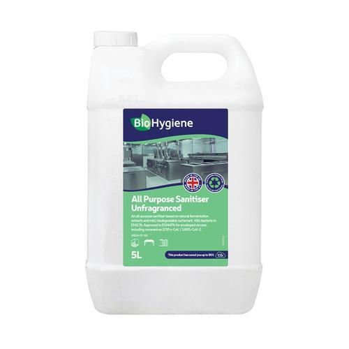 BioHygiene All Purpose Sanitiser Unfragranced Concentrated 5Litre Bottle Ref BH115