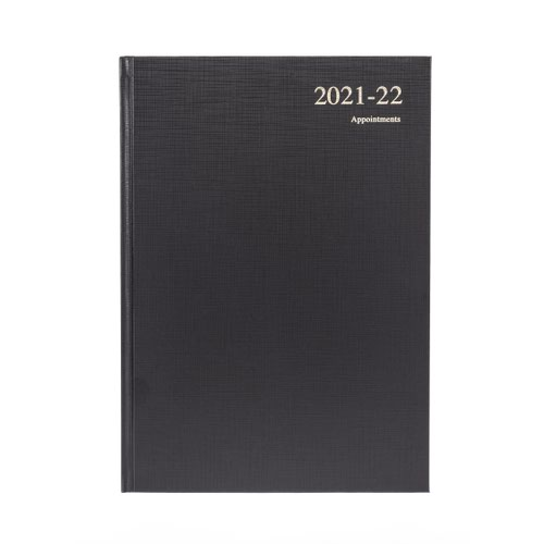 Collins Essential A4 Week to View 2022 Diary Leathergrain Black