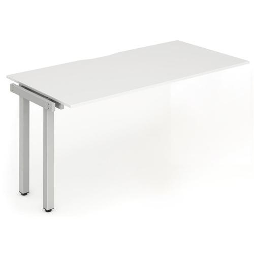 Trexus Bench Desk Single Extension Silver Leg 1200x800mm White Ref BE340