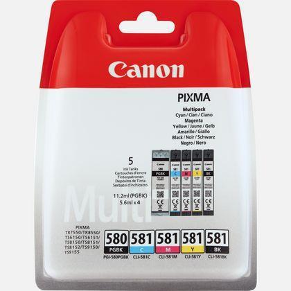 Canon PGI-580/CLI-581 Inkjet Cart C/M/Y 11.2ml/Black 5.6ml Ref 2078C005 [Pack 5]