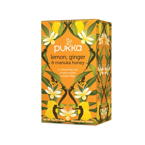 Pukka Individually Enveloped Tea Bags Lemon Ginger and Manuka Honey Ref 5060229011541 [Pack 20]