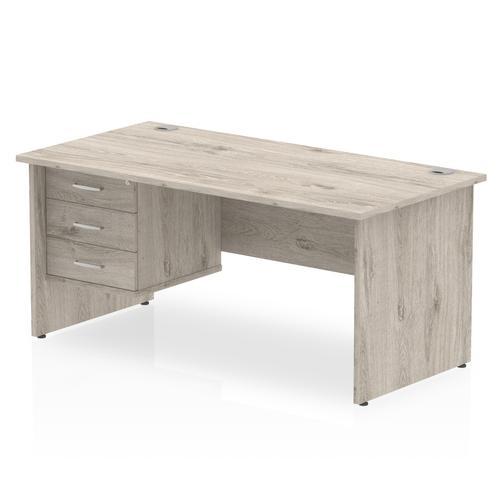 Trexus Rectangular Desk Panel End Leg 1800x800mm Fixed Pedestal 3 Drawers Grey Oak Ref I003502