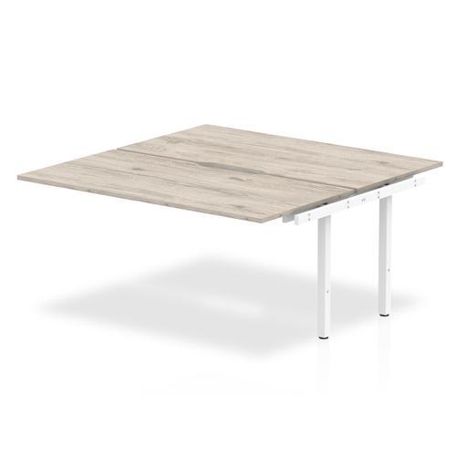 Trexus Bench Desk Double Extension Back to Back Configuration White Leg 1400x1600mm Grey Oak Ref BE780