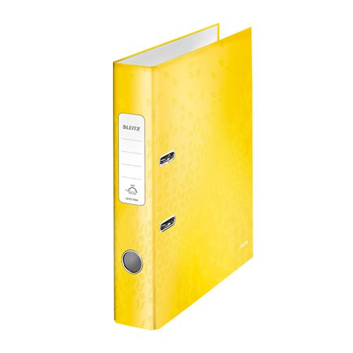 Leitz WOW Lever Arch File 80mm Spine for 600 Sheets A4 Yellow Ref 10050016 [Pack 10]