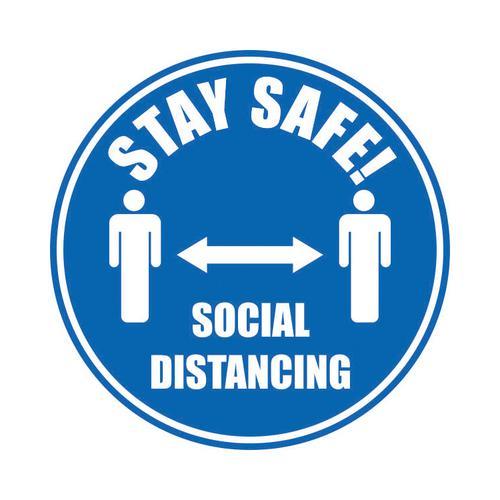 Stay Safe Social Distancing Floor Marker Blue 430mm Diameter Self Adhesive