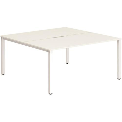 Trexus Bench Desk 2 Person Back to Back Configuration White Leg 1400x1600mm White Ref BE155