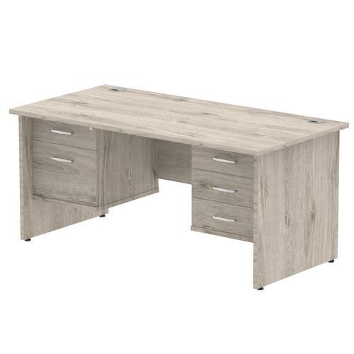 Trexus Rectangular Desk Panel End Leg 1600x800mm Double Fixed Pedestal 2&3 Drawers Grey Oak Ref I003475